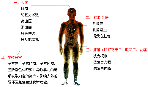 辐射对人体的伤害图